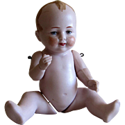 Miniature German Bisque Jointed Bent Knee Baby Doll- 5''