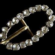 Art Deco Oval Rhinestone Brass Belt Buckle -1930's.