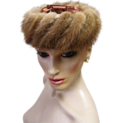 Retro Chic Open Crown Blond Mink Cocktail Hat-1940's
