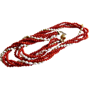 18k Multi Strand Red Coral, Seed Pearls and Gold Bead Necklace-Italy