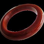 Mid Century Cranberry Red Marbled Bakelite Bangle Bracelet