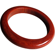 Mid Century Cranberry Red Marbled Bakelite Bangle Bracelet.