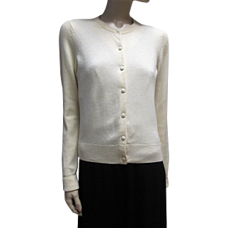 Lilly Pulitzer Soft Cream Cashmere Blend Cardigan Size M.