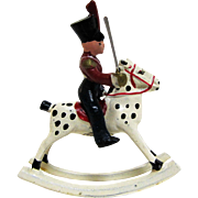 Wend-Al Toy Town Series Aluminum Officer Soldier on Rocking Horse.
