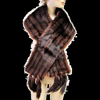 Quality Vintage Mink Fur Stole Wrap with Tails.