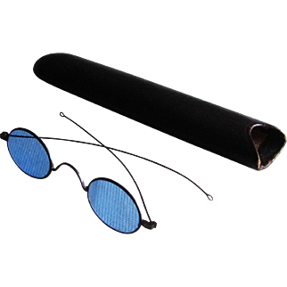 Civil War Spectacles, Blue Tinted With Original Case