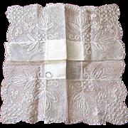 Tambour Lace and Irish Linen Bridal Handkerchief