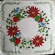 Happy Christmas Holiday Handkerchief Blue Birds and Poinsettia,