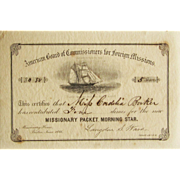 Certificate For The Missionary Packet, Morning Star- 1866