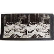 Stereoview Card ''Family Cares'' Little Girl Holding Doll with Cat.
