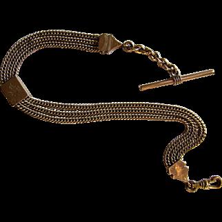 Antique Victorian Triple Gold Filled Albert Ornate Slide Pocket Watch Chain.