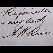 Alexander Hamilton Rice Signed Letter --30th Governor of Massachusetts 1876 - 1878