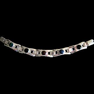 Vintage Mexico Sterling Silver Mid Century Modernist Agate Bracelet.