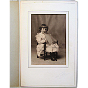 Cabinet Photograph- Sweet Little Girl in Victorian Frilly Lace Dress.