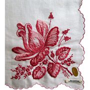 Vintage Big Fuchsia & Pink Rose Swiss Embroidered Handkerchief.