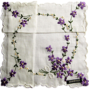 Vintage Swiss Embroidered Handkerchief- Bouquets of Violets.