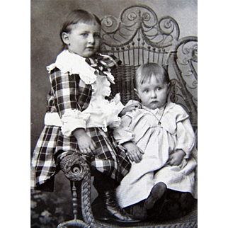 Cabinet Photograph- Adorable Sisters Sit In Fancy Victorian Wicker Chair-Boston