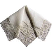 Lovely Tambour Lace and Linen Bride's Wedding Handkerchief.