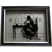 ''The Missive'' Silhouette Reverse Painting On Glass - 1933.