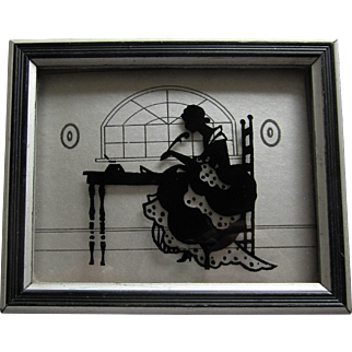 Silhouette Reverse Painting On Glass Title '' The Missive''- 1933.