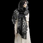 Stunning Black Lace Mantilla Scarf Shawl- Galerias Preciados, Spain.