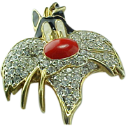 Retired Sylvester Cartoon Cat Rhinestone & Enameled Brooch