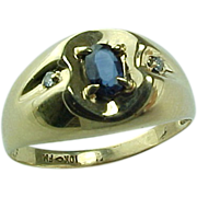 Gent's 10 K Sapphire And Diamond Ring