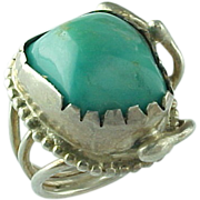 Vintage Hand Crafted Chunky Turquoise Ring