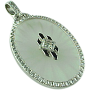 Art Deco Platinum Camphor Glass & Rhinestone Enameled Pendant