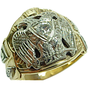Masonic Gold Diamond Enamel Mens Ring w/ 32nd Degree Eagle