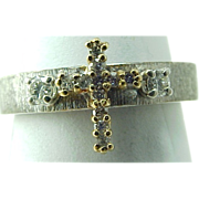 Vintage 14K Two Tone Brushed Gold Diamond CROSS Ring