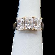 10K Yellow Gold 3.00 Carat Emerald Cut Three Stone Ring