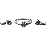 10K White Gold Amethyst Heart Ring And Matching Pierced Earrings