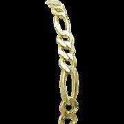 "Vintage 10K Yellow Figaro 9"" Gold Bracelet."
