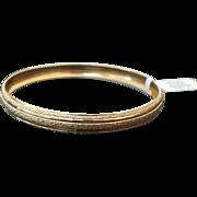 10K Yellow Gold Engraved 7.25 mm Bangle Bracelet