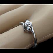 10K White Gold Diamond Bypass Ring