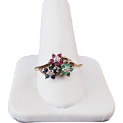 10K Yellow Gold Sapphire, Emerald, Ruby Flower Ring