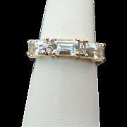 10K Yellow Gold 1.50 Carat Simulated Aqua Marine & Diamond Band