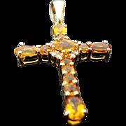 10K Yellow Gold Citrine & Diamond Cross