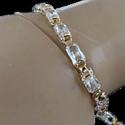 10K Yellow Gold 20.00 Carat Emerald Cut Simulated Diamond Bracelet