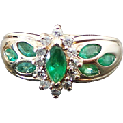 10K Yellow Gold Marquis Cut Emerald & Diamond Ring