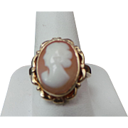 Vintage 10K Yellow Gold Carved Cameo Ring