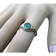 Victorian Emerald Paste Solitaire 10K Ring