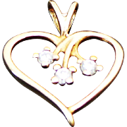 10K Yellow Gold Open Heart Simulated Diamond Charm/Pendant