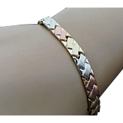 10K Tri Color Gold Braided Bracelet