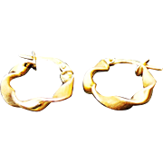 10K Yellow/Rose Gold Twisted Pierced Small Hoops