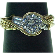 Lovely 10K Yellow Gold 1.50 Carat Faux Diamond Ring