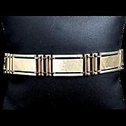 """Stunning Custom 14 Karat Gold 13mm Railroad Link Brushed and High Polished 7.5"""" Bracelet"""