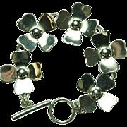 Vintage Mexico Sterling Silver Flower Bracelet