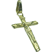 14K Cross Crucifix Jesus Pendant Yellow Gold